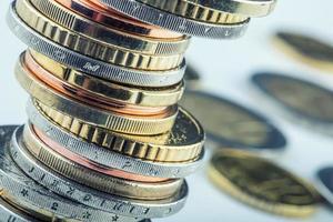 moedas de euro. dinheiro em euros. moeda euro. foto
