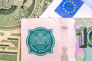 dinheiro do mundo - dólares, euros, rublos russos foto