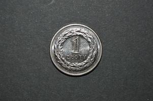 uma moeda de zloty polonês dinheiro pln foto