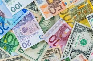 dólar, euro e polonês zloty dinheiro plano de fundo foto