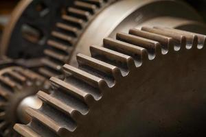 roda dentada de máquina de engrenagem de indústria, cooperação empresarial, trabalho em equipe e conceito de tempo foto