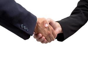 aperto de mão do empresário isolado no fundo branco foto