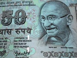 moeda indiana - nota de cinquenta rupias / nota