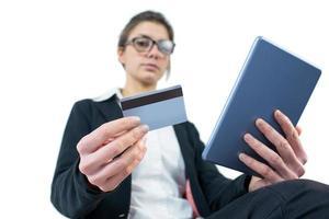 empresária usando um tablet pc foto