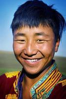 homem mongol tradicional vestido solidão tranquilo conceito foto