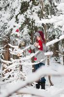 decorando uma árvore de natal foto