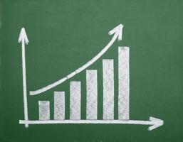 Finanças gráfico de negócios na economia de lousa foto