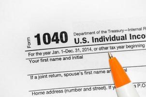 1040 formulário de declaração de imposto de renda individual dos EUA foto