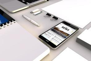 escritório de notícias smartphone foto