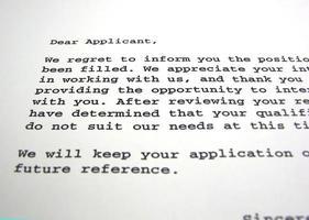 retomar carta de rejeição foto