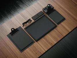 conjunto dos elementos em branco de negócios. 3d rendem foto
