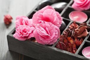 conjunto de spa e aromaterapia em caixa preta foto