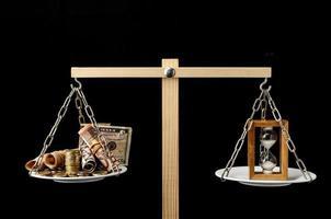 relógio e moeda tempo é dinheiro conceito foto