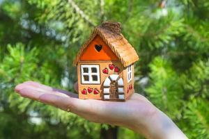 mãos segurando uma casa foto