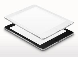 computadores tablet realistas com telas em branco.