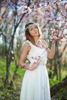linda noiva em um jardim de damasco em flor