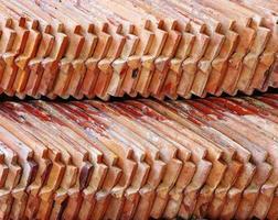 close-up muitos velhos tijolos vermelhos foto
