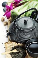 jogo de chá asiático e configurações de spa