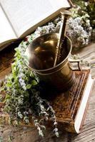 argamassa e ervas medicinais naturais sortidas foto