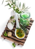 conceito cosmético verde-oliva foto