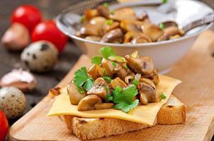 sanduíche de torrada com cogumelos, queijo e salsa, foco seletivo foto