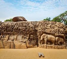 descida dos bandos e penitência de arjuna, mahabalipuram, tamil foto