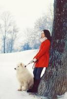 proprietário de mulher e cachorro samoiedo branco perto de árvore no inverno foto