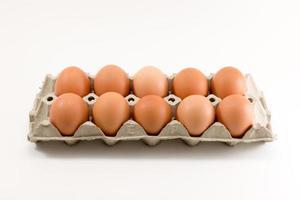 dez ovos na bandeja de ovos foto