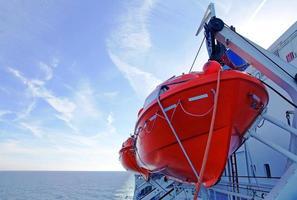 botes salva-vidas em uma balsa