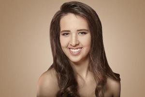 sorrindo, caucasiano, menina foto
