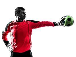 caucasiano, jogador de futebol, goleiro, homem, parando, bola, um, mão, s foto
