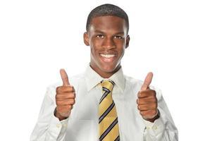 empresário americano africano, mostrando os polegares foto