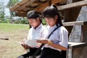 estudantes asiáticos aprendendo