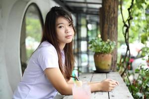 retrato de estudante asiática foto