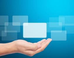 botão de tela sensível ao toque de mão aberta foto