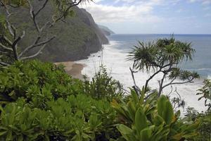 litoral acidentado e falésias de kauai, havaí