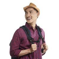 sorriso jovem viajante asiático foto