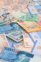 moedas asiáticas close-up