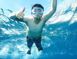 polegares para cima debaixo d'água