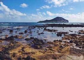 praia rochosa com ilha oceano e coelho waimanalo Havaí