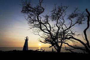 pequena torre com pôr do sol silhueta de árvore foto