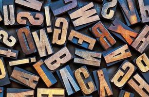 tipografia vintage tipo de madeira de fundo foto