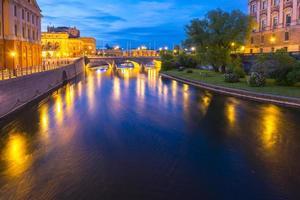 panorama da noite de verão da cidade velha em Estocolmo, Suécia