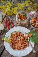 cogumelos com tampa de açafrão foto