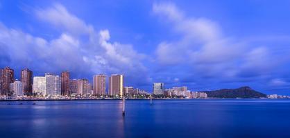 skyline de Havaí no crepúsculo