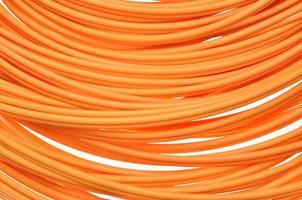 cabos ópticos de fibra de laranja foto