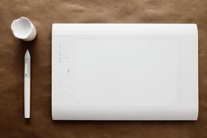 mesa digitalizadora de caneta branca foto