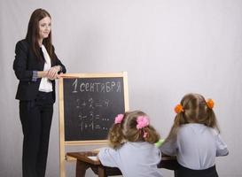 professora ensina dois discípulos foto