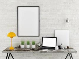 mock-se escritório de mesa, ilustração 3d