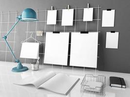 mesa de escritório mock up, ilustração 3d foto